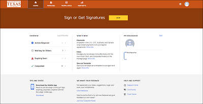 Screen grab of DocuSign New User Experience
